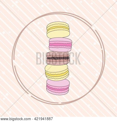 Round Frame With Stack Of Colored Macaroons On A Pink Striped Background With Small Stars. French Sw