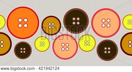 Creative Seamless Design Of Colourful Buttons Background Textures Ribbon Pattern. Seamless Vector Il