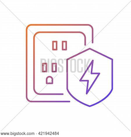 Surge Protection Gradient Linear Vector Icon. Electrical Installation Protection. Equipment Safety I
