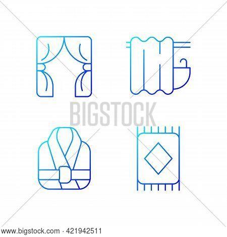 Home Textile Items Gradient Linear Vector Icons Set. Window Blinds. Bathroom Curtain. Bath Robes. Fl