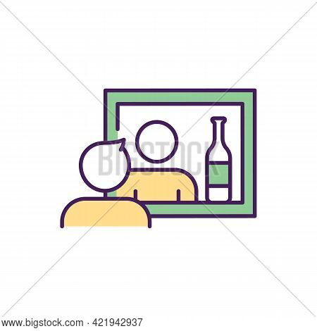 Drug Dependence Treatment Rgb Color Icon. Isolated Vector Illustration. Process Of Treatment From Da