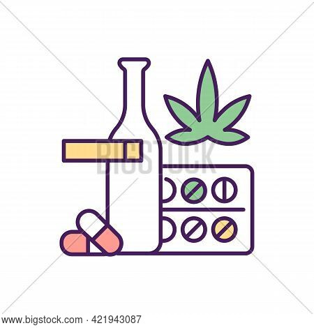 Dangerous Addictions Types Rgb Color Icon. Isolated Vector Illustration. Illicit Drugs Types And Sub