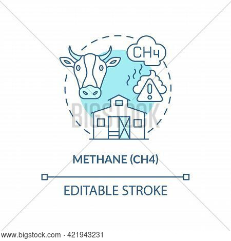Methane Concept Icon. Ch4 Abstract Idea Thin Line Illustration. Food And Green Waste. Emission By Hu