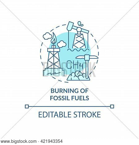 Fossil Fuels Burning Concept Icon. Human Co2 Cause Abstract Idea Thin Line Illustration. Greenhouse