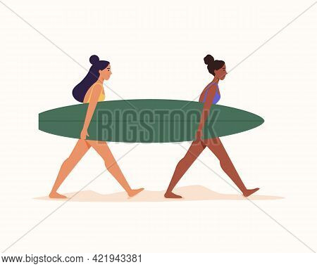 Two Surfing Woman In Swimsuit Carrying Surfboard On Sand On Isolated White Background.vector Flat Il