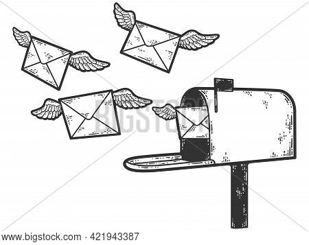 Mail Envelopes Fly Out Of The Mailbox. Sketch Scratch Board Imitation Color.