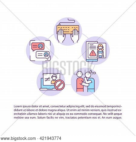 Reporting Hurtful Content Concept Line Icons With Text. Ppt Page Vector Template With Copy Space. Br