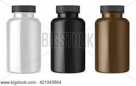 Lutein Bottle. Black, Brown, White Supplement Pill Jar. Premium Multivitamin Capsule 3d Cylinder Pac