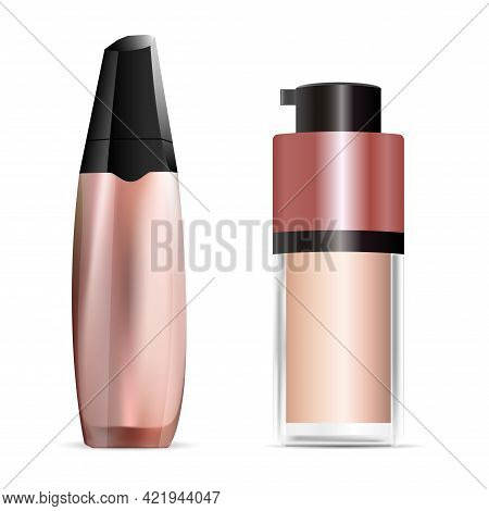Cosmetic Concealer Bottle Design, Foundation Cream Pump Jar. Cosmetic Base, Makeup Texture. Face Ski