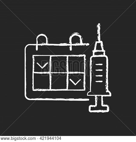 Two Dose Vaccination Chalk White Icon On Black Background. Schedule For Drug Injection. 2 Doze Vacci