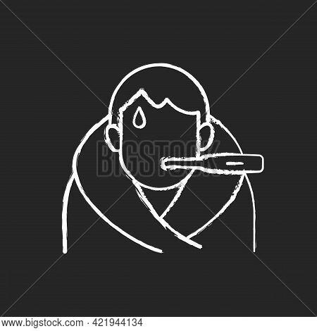 Fever Chalk White Icon On Black Background. Disease Symptom. Allergic Reaction. Patient With Tempera