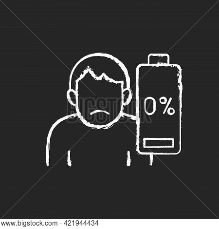 Vaccination Effect Chalk White Icon On Black Background. Drowsiness And Fatigue. Mental Burnout. Phy