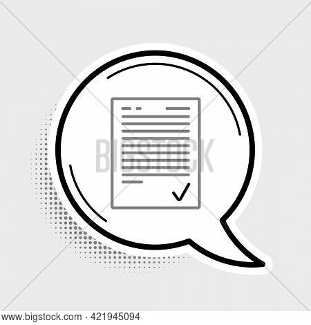Line Exam Sheet With Check Mark Icon Isolated On Grey Background. Test Paper, Exam, Or Survey Concep