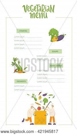 Vegetarian Menu, Cooks Are Cooking Vegetable Soup On Kitchen In Restaurant. Funny Chef Men Making Ve