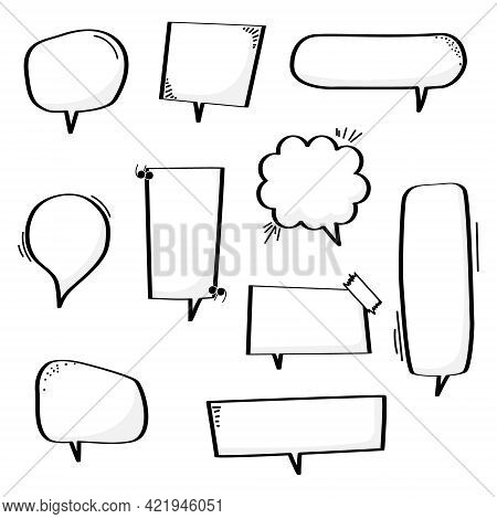 Collection Set Of Blank Hand Drawing Speech Bubble Balloon With Quotation Marks, Think Speak Talk Te