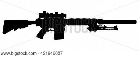 Vector Image Silhouette Of Modern Military Sniper Rifle Symbol Illustration Isolated On White Backgr