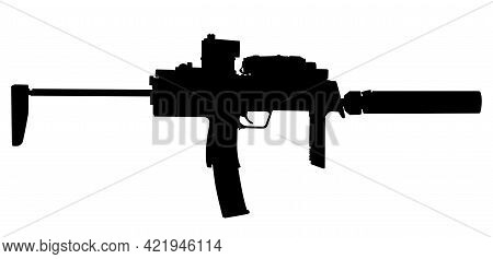 Vector Image Silhouette Of Modern Military Assault Submachine Rifle Symbol Silhouette Illustration I