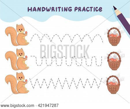 Handwriting Practice For Preschool Children. Tracing Lines With Colorful Squirrel And A Basket Of Mu