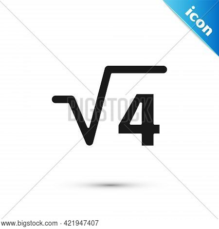 Grey Square Root Of 4 Glyph Icon Isolated On White Background. Mathematical Expression. Vector