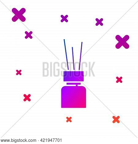 Color Aroma Diffuser Icon Isolated On White Background. Glass Jar Different With Wooden Aroma Sticks