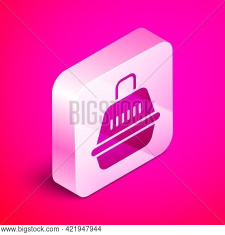 Isometric Pet Carry Case Icon Isolated On Pink Background. Carrier For Animals, Dog And Cat. Contain
