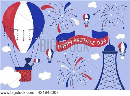 A Postcard With Balloons And Fireworks For Bastille Day On July 14. Postcard In The National Colors