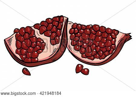 Pieces Of Pomegranate, Vector. Crushed Pomegranate, Quarters. Ripe Bright Colorful Red Burgundy Frui