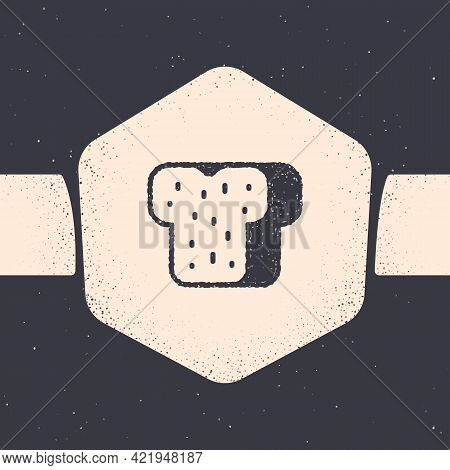 Grunge Bread Toast For Sandwich Piece Of Roasted Crouton Icon Isolated On Grey Background. Lunch, Di