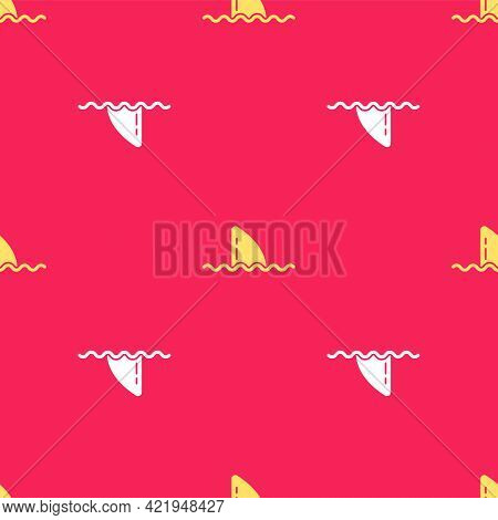 Yellow Shark Fin In Ocean Wave Icon Isolated Seamless Pattern On Red Background. Vector