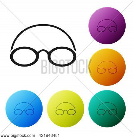 Black Glasses And Cap For Swimming Icon Isolated On White Background. Swimming Cap And Goggles. Divi