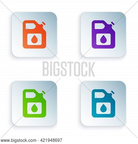 Color Canister For Gasoline Icon Isolated On White Background. Diesel Gas Icon. Set Colorful Icons I