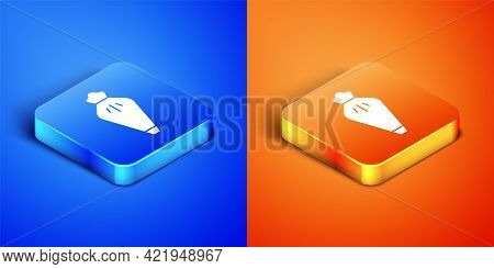 Isometric Pastry Bag For Decorate Cakes With Cream Icon Isolated On Blue And Orange Background. Kitc