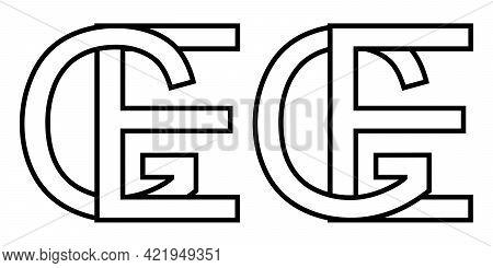Logo Sign Ge Eg Icon Sign Interlaced Letters E G Vector Logo Ge, Eg First Capital Letters Pattern Al