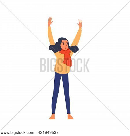 Young Woman Raises Her Hands And Shouts In A Womens March. Supporting The Protests Against The Backg
