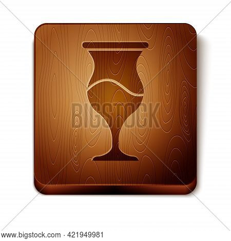 Brown Jewish Goblet Icon Isolated On White Background. Jewish Wine Cup For Kiddush. Kiddush Cup For