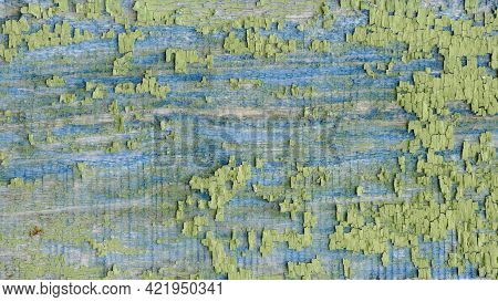 Beautiful Texture Of Old Board With Exfoliated Multi Layer Blue And Green Paint.