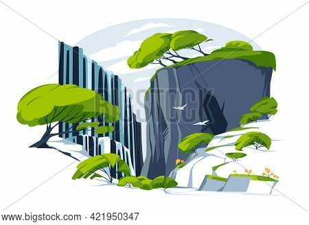 Waterfall In Green Rock. Vector Illustration. Flat Colorful Panoramic Landscape With River Water Fal