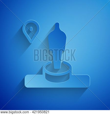 Paper Cut Map Pin And Monument Icon Isolated On Blue Background. Navigation, Pointer, Location, Map,