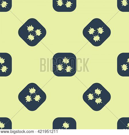 Blue Bacteria Icon Isolated Seamless Pattern On Yellow Background. Bacteria And Germs, Microorganism