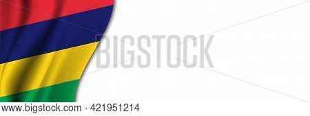 Mauritius Flag On White Background. White Background With Place For Text Near The Flag Of Mauritius.