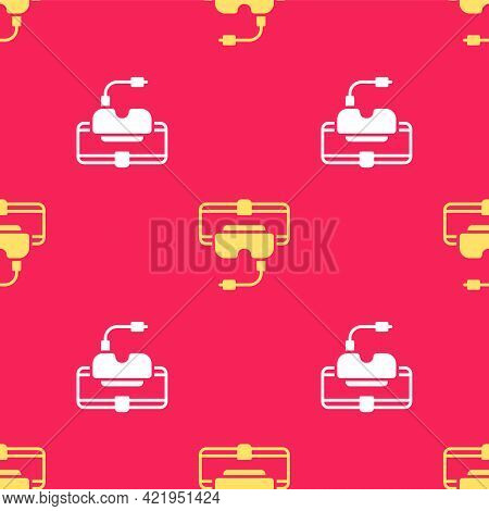 Yellow Virtual Reality Glasses Icon Isolated Seamless Pattern On Red Background. Stereoscopic 3d Vr