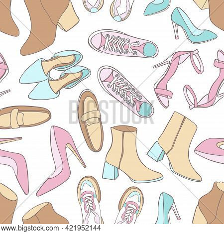 Women's Shoes. Set Of Fashion Accessories. Seamless Vector Pattern (background). Cartoon Print.