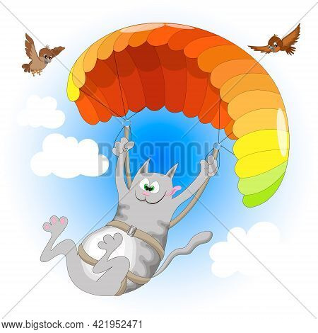 Cheerful Gray Cat Enjoys Paragliding On A Multicolored Parachute In The Blue Sky With Clouds