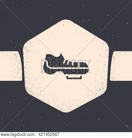 Grunge Triathlon Cycling Shoes Icon Isolated On Grey Background. Sport Shoes, Bicycle Shoes. Monochr