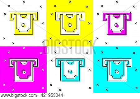 Set Atm - Automated Teller Machine And Money Icon Isolated On Color Background. Vector