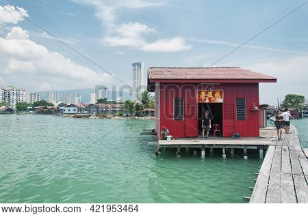 Penang, Malaysia. August 20, 2017. The Landmark Tan Jetty Within The Historic Georgetown Area Of Pen