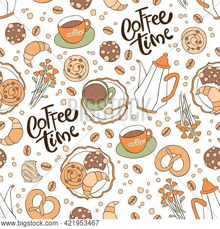 Coffee Time. Coffee Pot And Coffee Cup. Flowers. Baking: Croissant, Bun, Cookies. Lettering. Seamles