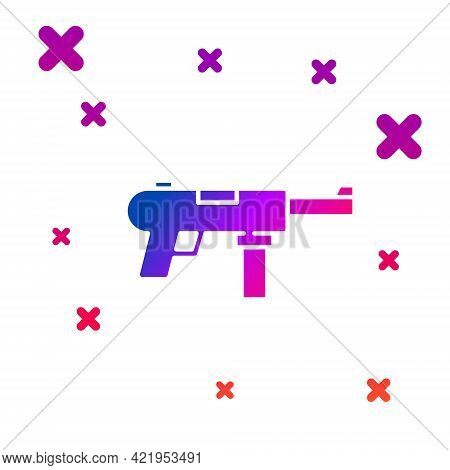 Color Submachine Gun M3, Grease Gun Icon Isolated On White Background. Gradient Random Dynamic Shape