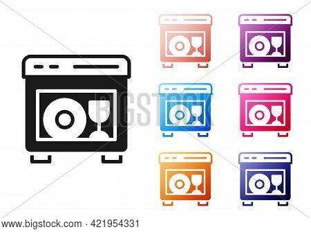 Black Kitchen Dishwasher Machine Icon Isolated On White Background. Set Icons Colorful. Vector