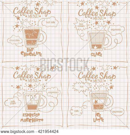 Espresso Macchiato. Hot Chocolate. Glace. Ice Latte. Coffee Shop Menu. Set. Coffee Cup. Lettering. C
